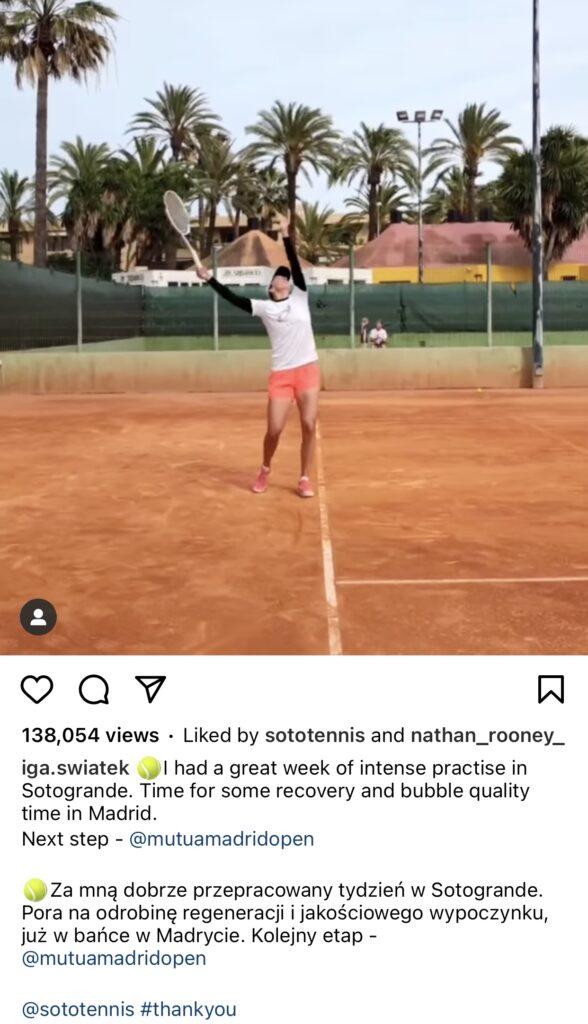 Iga Swiatek´s instagram post on training at SotoTennis Academy